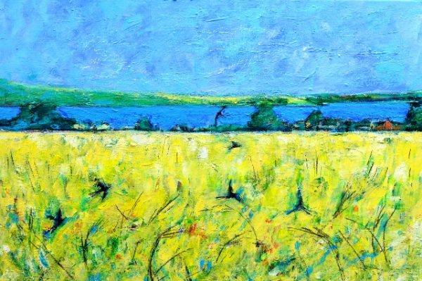 Acrylic painting. Wheat Field with Swallows, Llangwm, Pembrokeshire