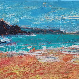 An acrylic palette knife painting of Broadhaven, Pembrokeshire by artist Jasmine Cutting